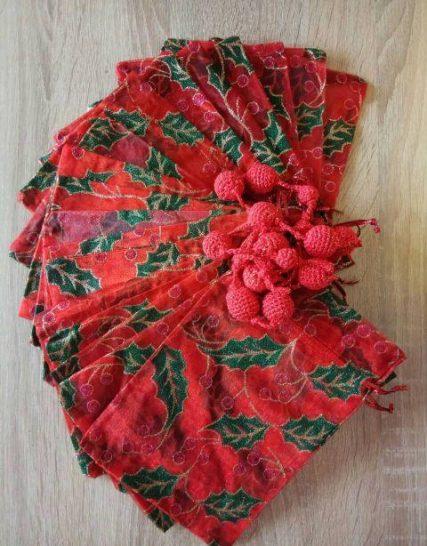 Мешочек подарочный органза. Красный.